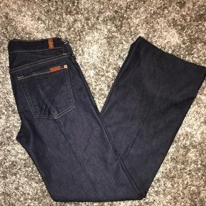 7 For All Mankind Dojo Dark Blue Flare Jeans 27x30